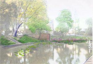 hoek Wittevrouwenkade/Wolvenplein, wilgentenen bollen met drijfbladplanten